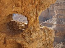 Window in the orange sandstone rock in stone deser Stock Photo