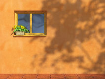 Window on orange wall Royalty Free Stock Images