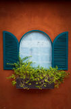 Window On Orange Wall Royalty Free Stock Photo