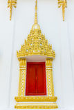 Window ornament. Pattern hinges red frame gold Thailand royalty free stock image