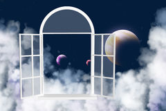 Window in other galaxy Royalty Free Stock Photography