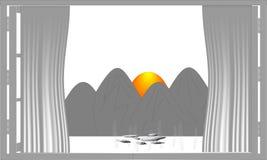 Window outside mountain behind sunrise.