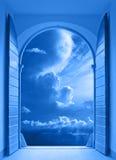 Window over stormy sky stock photos