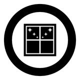Window overlooking the night stars icon black color in round circle stock illustration