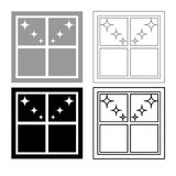 Window overlooking the night stars icon outline set grey black color stock illustration