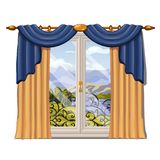 The window overlooking the sunny meadow of green grass in summer isolated on white background. Interior design luxury. The ornate curtain in the interior. Vector Royalty Free Stock Image