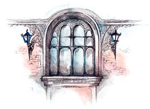 Window. Painting of beautiful window architecture stock illustration