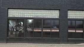 Window painting in Deep Ellum featuring Southweastern Conference Triple Crown Winnter Brent Rooker. Pictured is a window painting featuring Brent Rooker,   n royalty free stock images