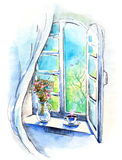 Window. Painting of spring still life from the window royalty free illustration