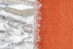 Window pane insulation frost snow view of town close-up Royalty Free Stock Photography