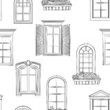 Window pattern. Different architectural style of windows doodle Royalty Free Stock Photography