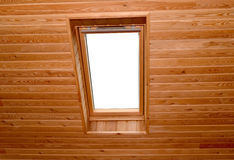 Window on a penthouse of the wooden house Royalty Free Stock Images