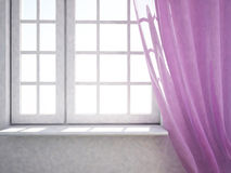 Window with pink curtain Stock Photos