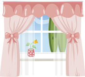 Window with pink curtains Stock Photo