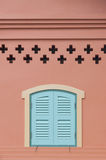 Window and pink wall. Window blue and pink wall Royalty Free Stock Photos