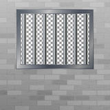 Window In Pokey With Bars. Brick Wall. Vector Jail Break Concept. Prison Grid Isolated. Stock Photo