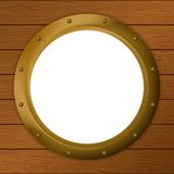 Window porthole in a wooden wall Stock Photos
