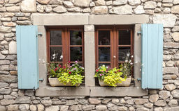 Window with pots Stock Photo