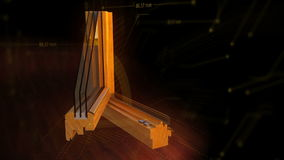 Window profile cut animation black. Window profile cut wood oak, pine material with open animation three glass save energy ecology technology space tech elements stock footage