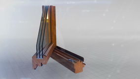 Window profile cut animation. Window profile cut wood oak, pine material with open animation three glass save energy ecology technology space tech elements stock video footage
