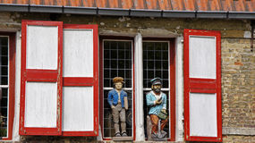 Window with puppets in Bruge Stock Image