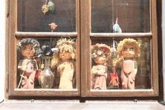 Window with puppets Stock Image