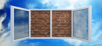 Window put by a bricklaying. (3d rendering Royalty Free Stock Image