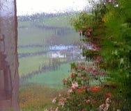 Window in rain storm. stock images