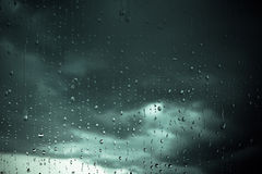 Window raindrops. Rain drops on a window, close-up Royalty Free Stock Image