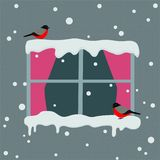 Window with red curtains on a snowy day. Bullfinches sitting on the window Winter background. Vector illustration royalty free illustration