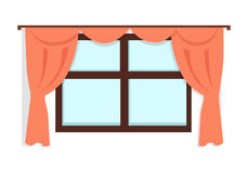 Window with Red Curtains Royalty Free Stock Photos