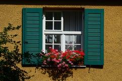 Window with red geranium Stock Image
