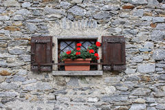 Window with red geranium Royalty Free Stock Image