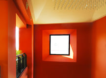 Window in red wall Royalty Free Stock Images