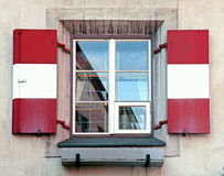 Window with red and white shutters, Innsbruck, Austria Royalty Free Stock Photography