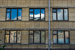 Window reflection. Old Saint-petersburg houses reflect in windows Royalty Free Stock Photos