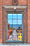 The window reflection of Nyhavn townhouses in Copenhagen. Stock Photography