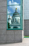 Window with reflection of Orthodox Church Stock Image