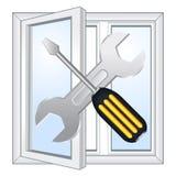Window repair workshop. Vector emblem Royalty Free Stock Image