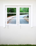 Window with right curve road view Stock Photos