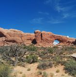 Window Rock at Arches National Park. Window Rock and desert landscape at Arches National Park in Utah Stock Image