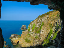Window in the rock, Sark Island, Channel Islands Stock Photo