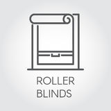 Window roller blinds icon in outline style. Pictograph for home and office interior design concept and other projects Royalty Free Stock Images