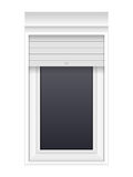 Window with rolling shutters Royalty Free Stock Images