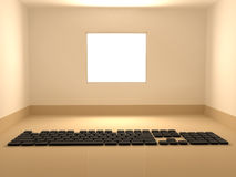 Window Room Keyboard. Empty brightly lit window room interior 3d, horizontal background Royalty Free Stock Image