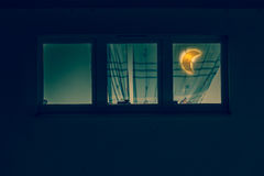 Window in the room with moon lamp Royalty Free Stock Image