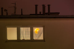 Window in the room with moon lamp Royalty Free Stock Photos