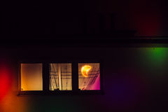 Window in the room with moon lamp Stock Photos