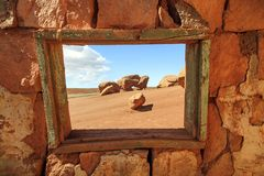 Window ruin in the desert southwest, Utah, USA. Royalty Free Stock Images
