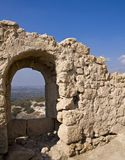 Window ruins. This window was a part of an old wall with a view to the valley below. Placed in the Yehuda's plain - Israel Royalty Free Stock Photo